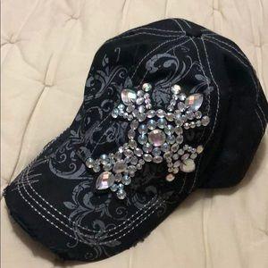 BLack BKE cross bling baseball cap